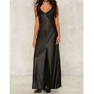 Black Vegan Leather Maxi Dress Nasty Gal S